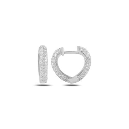 Resim Rodyum Kaplama Zirkon Taşlı Kalp Halka Gümüş Küpe