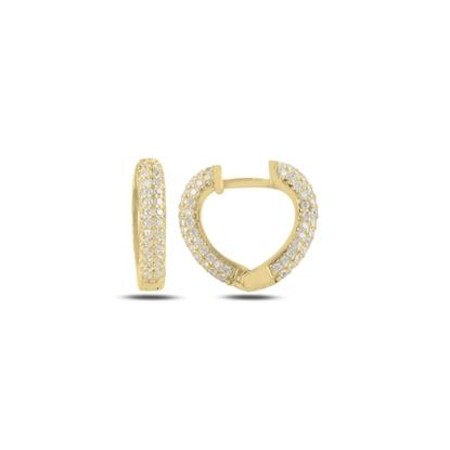 Resim Altın Kaplama Zirkon Taşlı Kalp Halka Gümüş Küpe