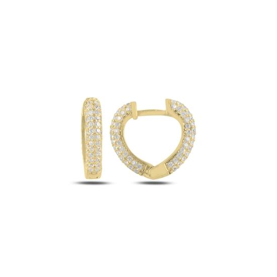 Ürün resmi: Altın Kaplama Zirkon Taşlı Kalp Halka Gümüş Küpe