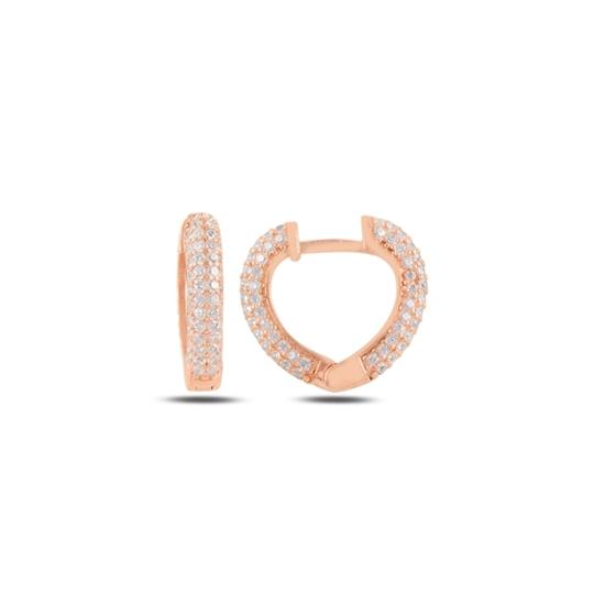 Ürün resmi: Rose Kaplama Zirkon Taşlı Kalp Halka Gümüş Küpe