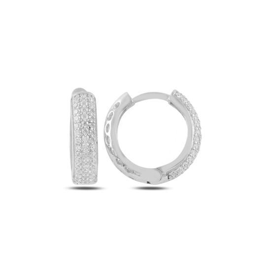 Ürün resmi: Rodyum Kaplama Zirkon Taşlı Halka Gümüş Küpe