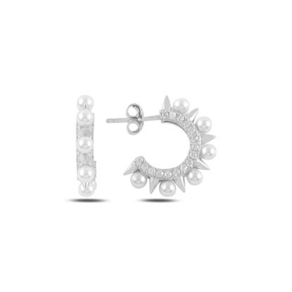 Resim Rodyum Kaplama İnci & Zirkon Taşlı Gümüş Küpe