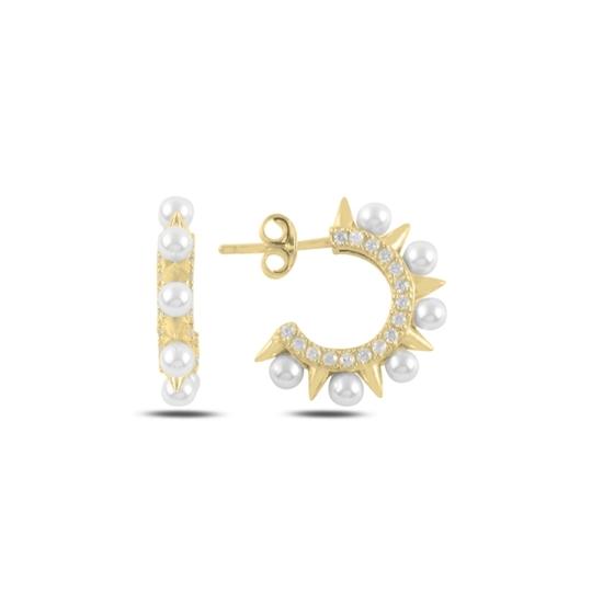 Ürün resmi: Altın Kaplama İnci & Zirkon Taşlı Gümüş Küpe
