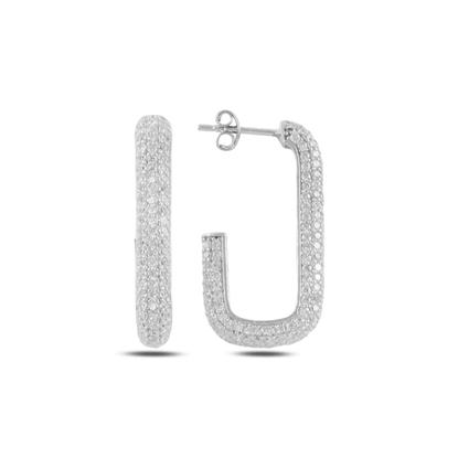Resim Rodyum Kaplama Dikdörtgen Zirkon Taşlı Gümüş Küpe