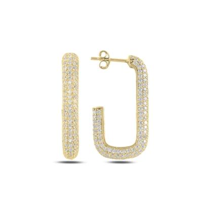 Resim Altın Kaplama Dikdörtgen Zirkon Taşlı Gümüş Küpe