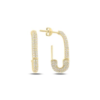 Resim Altın Kaplama Çengelli İğne Zirkon Taşlı Gümüş Küpe