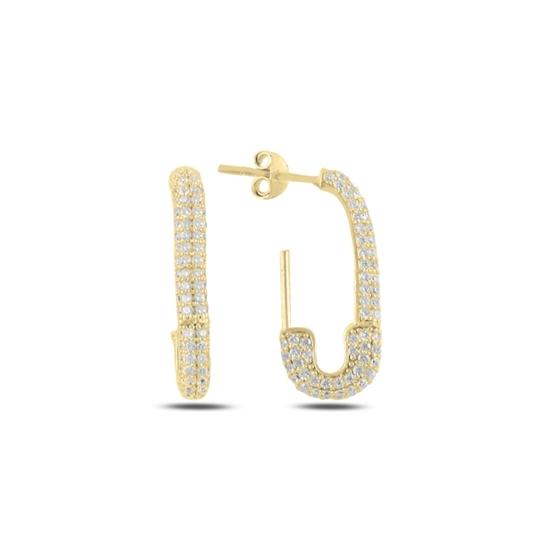 Ürün resmi: Altın Kaplama Çengelli İğne Zirkon Taşlı Gümüş Küpe