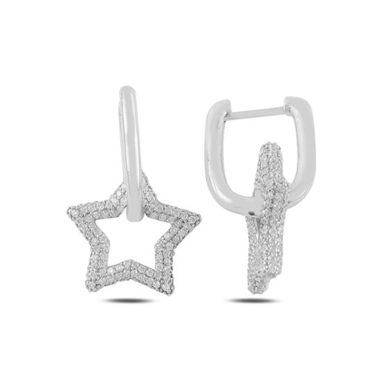 Ürün resmi: Rodyum Kaplama Yıldız Zirkon Taşlı Gümüş Sallantılı Küpe