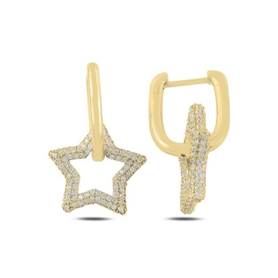 Ürün resmi: Altın Kaplama Yıldız Zirkon Taşlı Gümüş Sallantılı Küpe