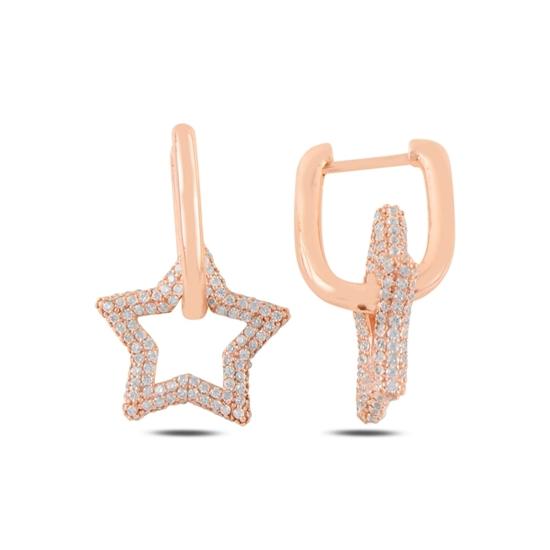 Ürün resmi: Rose Kaplama Yıldız Zirkon Taşlı Gümüş Sallantılı Küpe