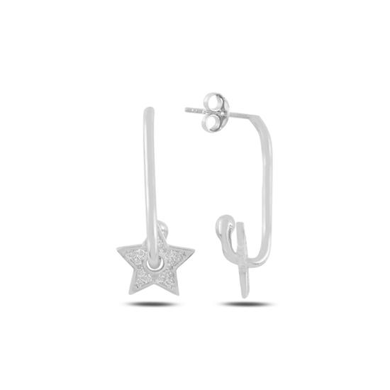Ürün resmi: Rodyum Kaplama Yıldız Zirkon Taşlı Gümüş Küpe