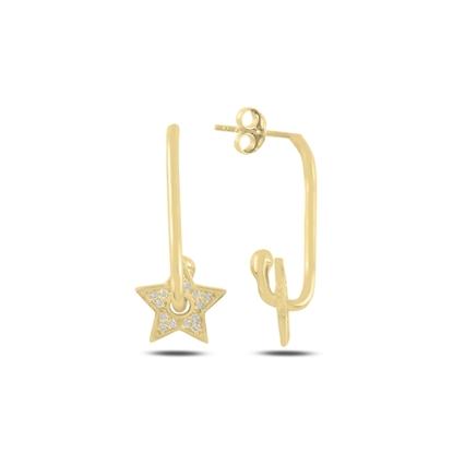 Resim Altın Kaplama Yıldız Zirkon Taşlı Gümüş Küpe