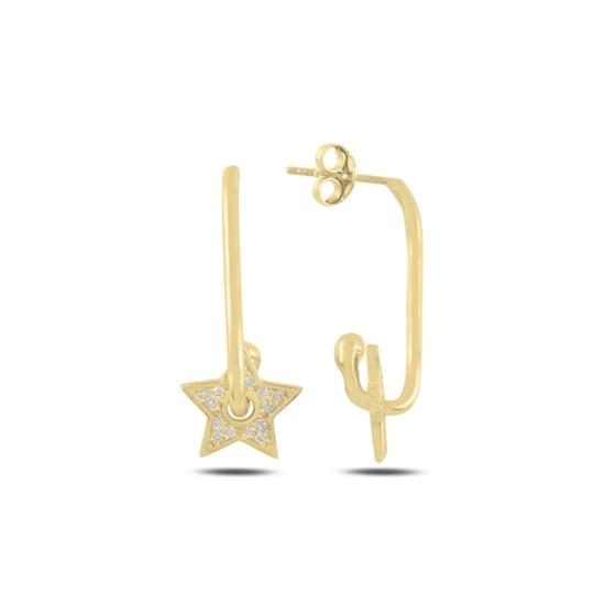 Ürün resmi: Altın Kaplama Yıldız Zirkon Taşlı Gümüş Küpe