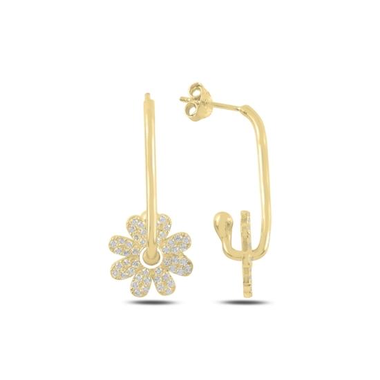 Ürün resmi: Altın Kaplama Papatya Zirkon Taşlı Gümüş Küpe