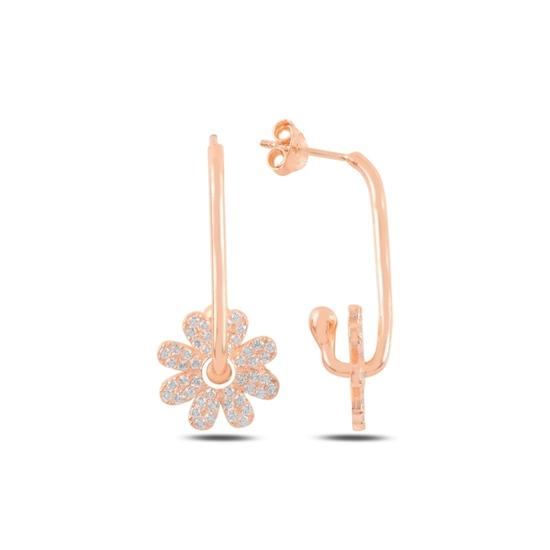 Ürün resmi: Rose Kaplama Papatya Zirkon Taşlı Gümüş Küpe