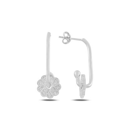 Resim Rodyum Kaplama Çiçek Zirkon Taşlı Gümüş Küpe