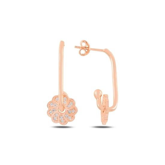 Ürün resmi: Rose Kaplama Çiçek Zirkon Taşlı Gümüş Küpe