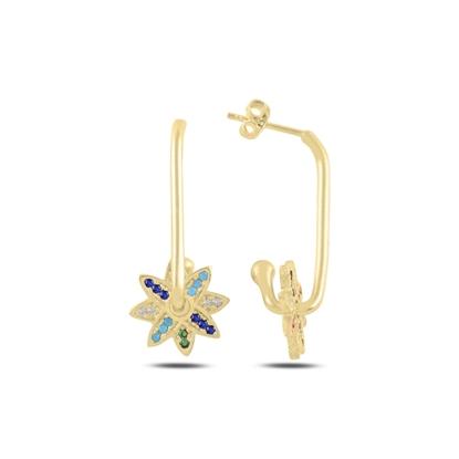 Resim Altın Kaplama Çiçek Zirkon Taşlı Gümüş Küpe