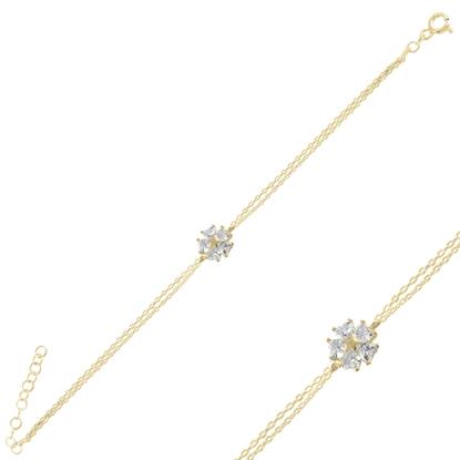 Resim Altın Kaplama Çiçek & Yıldız, Kalp Zirkon Taşlı Gümüş Bayan Bileklik