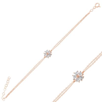 Resim Rose Kaplama Çiçek & Yıldız, Kalp Zirkon Taşlı Gümüş Bayan Bileklik