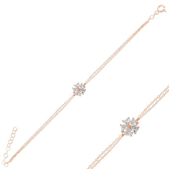 Ürün resmi: Rose Kaplama Çiçek & Yıldız, Kalp Zirkon Taşlı Gümüş Bayan Bileklik