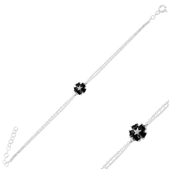 Ürün resmi: Rodyum Kaplama Siyah Zirkon Çiçek & Yıldız, Kalp Renkli Zirkon Taşlı Gümüş Bayan Bileklik