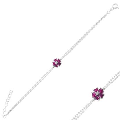 Resim Rodyum Kaplama Yakut Zirkon (Pembe) Çiçek & Yıldız, Kalp Renkli Zirkon Taşlı Gümüş Bayan Bileklik