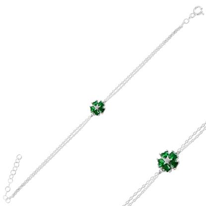 Resim Rodyum Kaplama Zümrüt Zirkon (Yeşil) Çiçek & Yıldız, Kalp Renkli Zirkon Taşlı Gümüş Bayan Bileklik