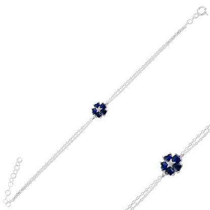Resim Rodyum Kaplama Safir Zirkon (Lacivert) Çiçek & Yıldız, Kalp Renkli Zirkon Taşlı Gümüş Bayan Bileklik