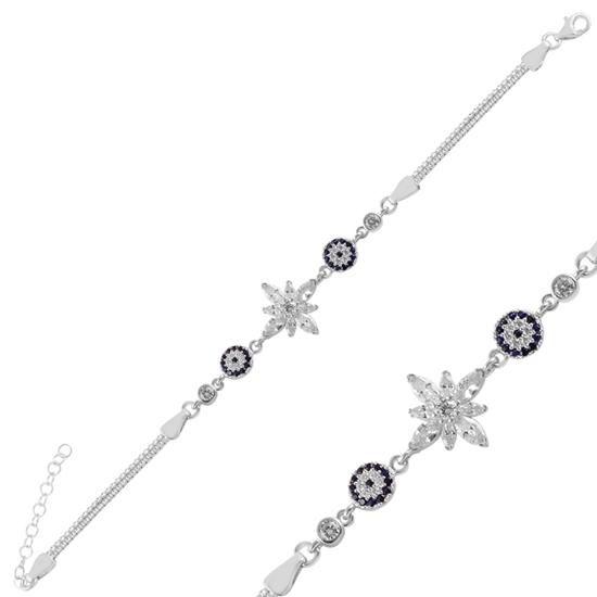 Ürün resmi: Rodyum Kaplama Sosyete Gözü & Lotus Çiçeği Damla Zirkon Taşlı Gümüş Bayan Bileklik