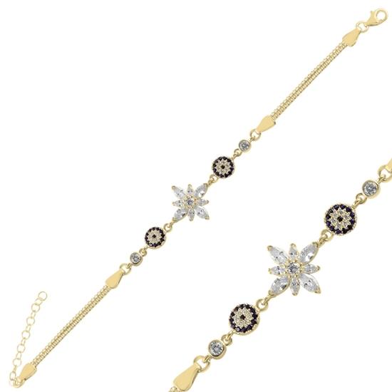 Ürün resmi: Altın Kaplama Sosyete Gözü & Lotus Çiçeği Damla Zirkon Taşlı Gümüş Bayan Bileklik