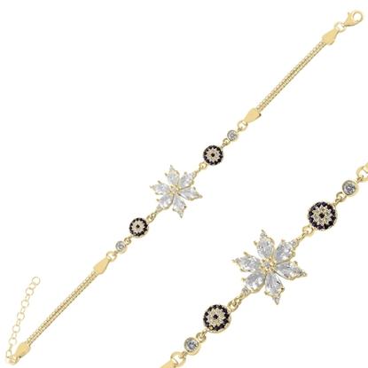 Resim Altın Kaplama Sosyete Gözü & Lotus Çiçeği Damla Zirkon Taşlı Gümüş Bayan Bileklik