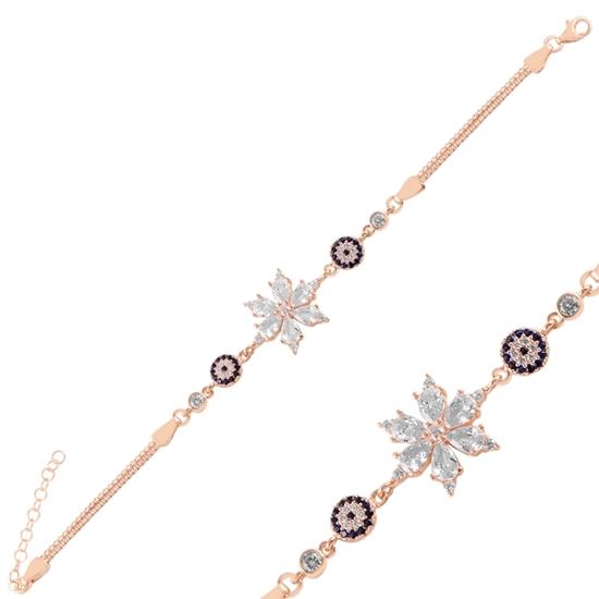 Ürün resmi: Rose Kaplama Sosyete Gözü & Lotus Çiçeği Damla Zirkon Taşlı Gümüş Bayan Bileklik