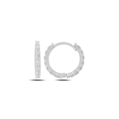 Resim Rodyum Kaplama Zirkon Taşlı 20mm Halka Gümüş Küpe