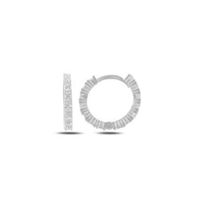 Resim Rodyum Kaplama Zirkon Taşlı 15mm Halka Gümüş Küpe