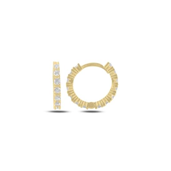Ürün resmi: Altın Kaplama Zirkon Taşlı 15mm Halka Gümüş Küpe
