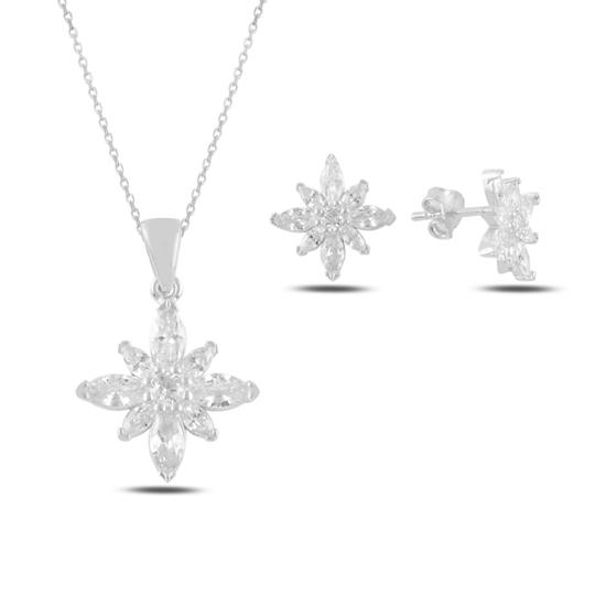 Ürün resmi: Rodyum Kaplama Lotus Çiçeği Mekik Zirkon Taşlı Gümüş Bayan Set