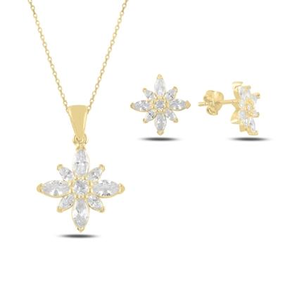 Resim Altın Kaplama Lotus Çiçeği Mekik Zirkon Taşlı Gümüş Bayan Set