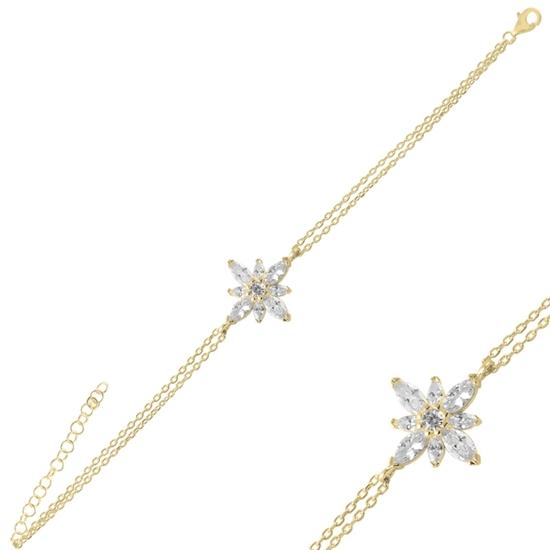 Ürün resmi: Altın Kaplama Lotus Çiçeği Zirkon Taşlı Gümüş Bayan Bileklik