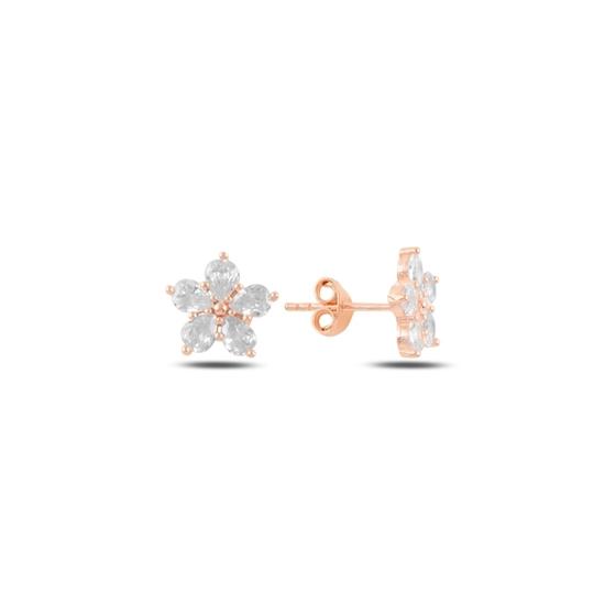 Ürün resmi: Rose Kaplama Çiçek Gümüş Küpe