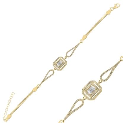 Resim Altın Kaplama Baget Zirkon Taşlı & Küp Gümüş Bayan Zincir Bileklik