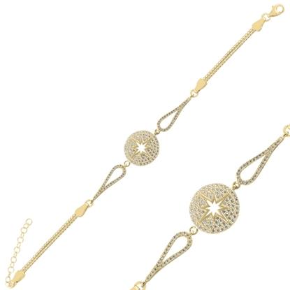 Resim Altın Kaplama Pusula Zirkon Taşlı & Küp Gümüş Bayan Zincir Bileklik