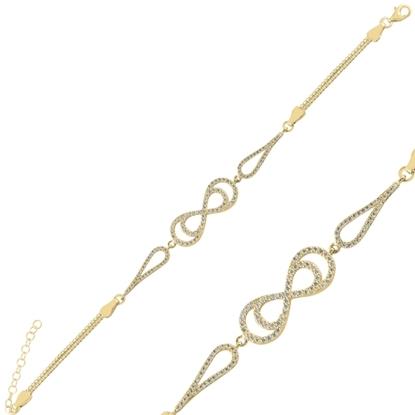 Resim Altın Kaplama Sonsuzluk Zirkon Taşlı & Küp Gümüş Bayan Zincir Bileklik