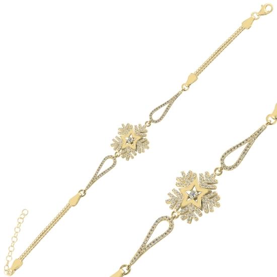Ürün resmi: Altın Kaplama Kar Tanesi Zirkon Taşlı & Küp Gümüş Bayan Zincir Bileklik