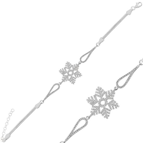 Ürün resmi: Rodyum Kaplama Kar Tanesi Zirkon Taşlı & Küp Gümüş Bayan Zincir Bileklik