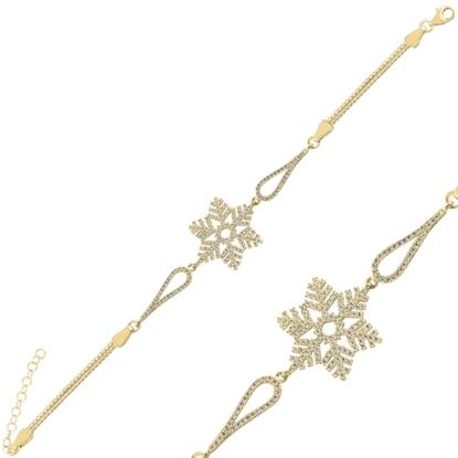Resim Altın Kaplama Kar Tanesi Zirkon Taşlı & Küp Gümüş Bayan Zincir Bileklik