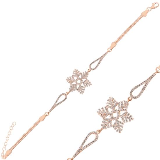Ürün resmi: Rose Kaplama Kar Tanesi Zirkon Taşlı & Küp Gümüş Bayan Zincir Bileklik