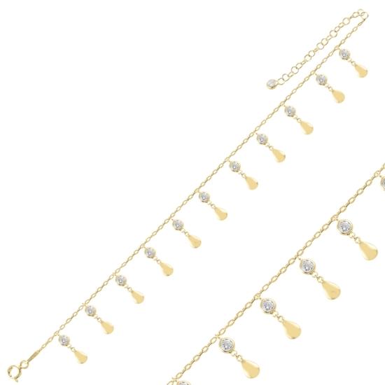 Ürün resmi: Altın Kaplama Sallantılı Damla & Zirkon Taşlı Halhal