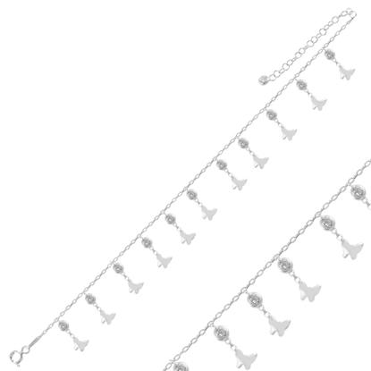 Resim Rodyum Kaplama Sallantılı Kelebek & Zirkon Taşlı Halhal