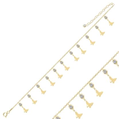 Resim Altın Kaplama Sallantılı Kelebek & Zirkon Taşlı Halhal